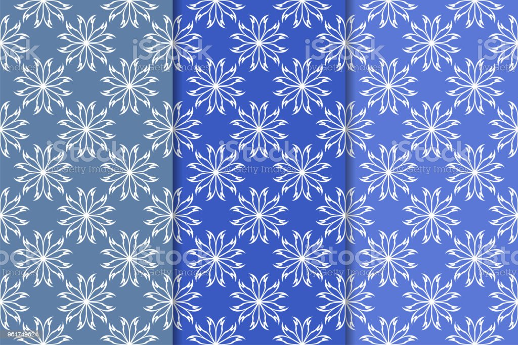 Set of floral ornaments. Vertical blue seamless patterns royalty-free set of floral ornaments vertical blue seamless patterns stock illustration - download image now