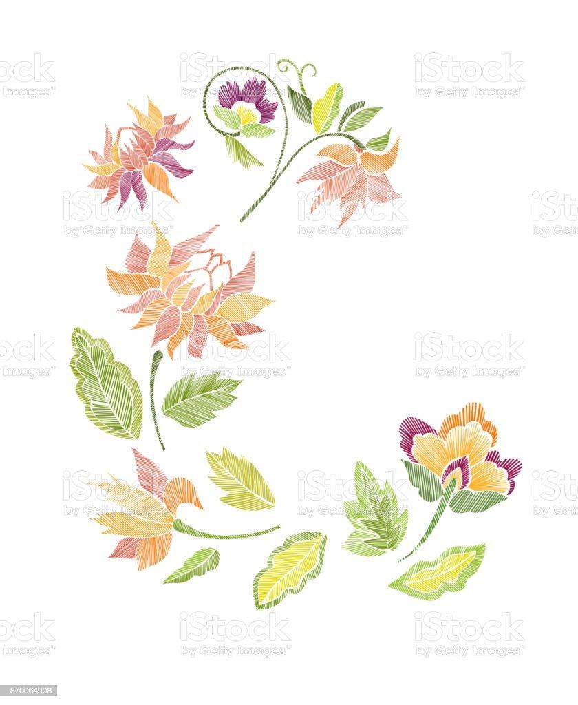 Ilustración de Set De Patrón Floral Con Flores De Fantasía Aislados ...