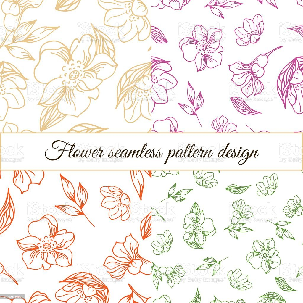 Set Of Floral Patterns Hand Draw Flowers Royalty Free
