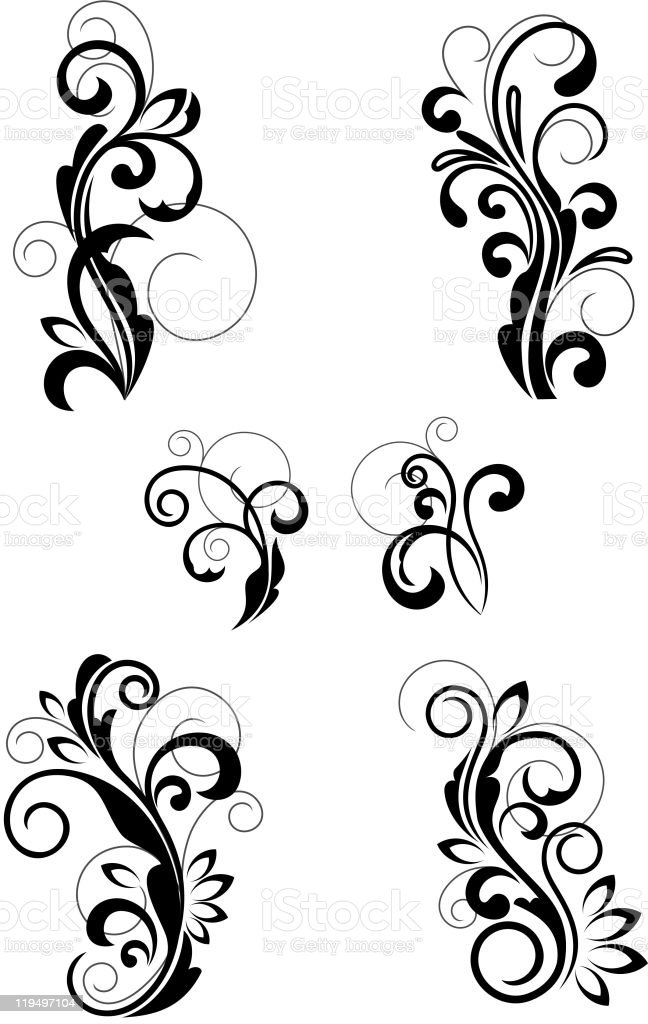 Set of floral patterns royalty-free stock vector art