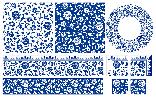 Set Of Floral Seamless Patterns And Frames