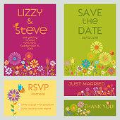 Set of Floral Wedding Invitation Templates. Vector illustration.