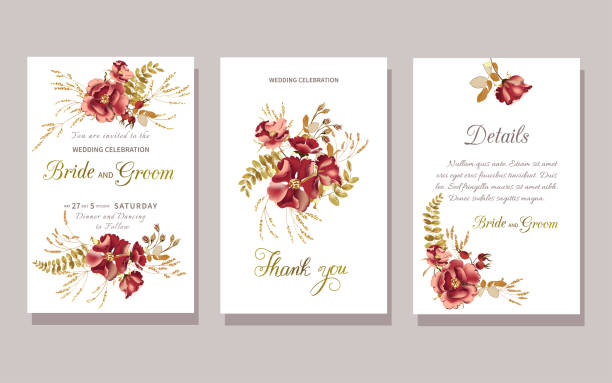 Set of floral wedding invitation with beautiful burgundy rose and gold tropical leaves on white background Set of floral wedding invitation with beautiful burgundy rose and gold tropical leaves on white background. Vector illustration wild rose stock illustrations