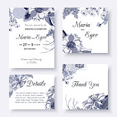 Vintage card with a bouquet of beautiful exotic flowers isolated on a white background. Set of floral wedding invitation with flower garlands. Vector illustration.