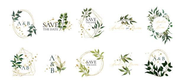 satz von floralen hochzeitslogos und monogramm mit eleganten grünen blättern - monogrammarten stock-grafiken, -clipart, -cartoons und -symbole