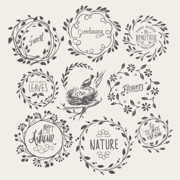 bildbanksillustrationer, clip art samt tecknat material och ikoner med uppsättning av blommig krans - bo