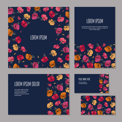 Set of floristic elements of corporate identity