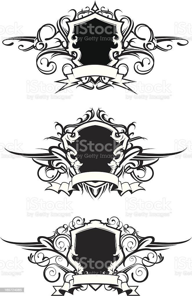 set of flourish crests royalty-free stock vector art