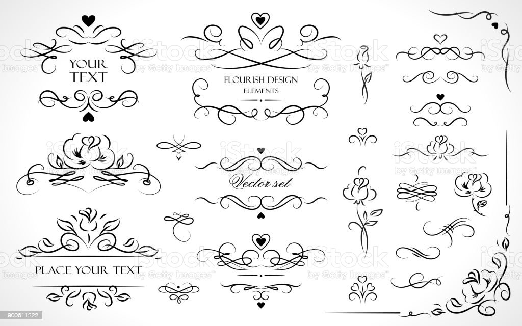 Set of flourish frames, borders, labels. Collection of original design elements. Vector calligraphy swirls, swashes, ornate motifs and scrolls. royalty-free set of flourish frames borders labels collection of original design elements vector calligraphy swirls swashes ornate motifs and scrolls stock vector art & more images of abstract