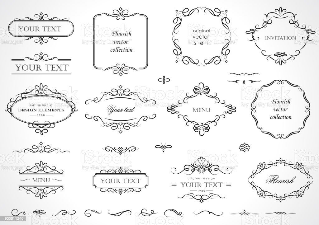 Set of flourish frames, borders, labels. Collection of original design elements. Vector calligraphy swirls, swashes, ornate motifs and scrolls. royalty-free set of flourish frames borders labels collection of original design elements vector calligraphy swirls swashes ornate motifs and scrolls stock illustration - download image now