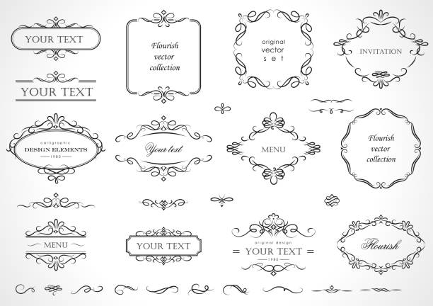 set of flourish frames, borders, labels. collection of original design elements. vector calligraphy swirls, swashes, ornate motifs and scrolls. - украшенный stock illustrations