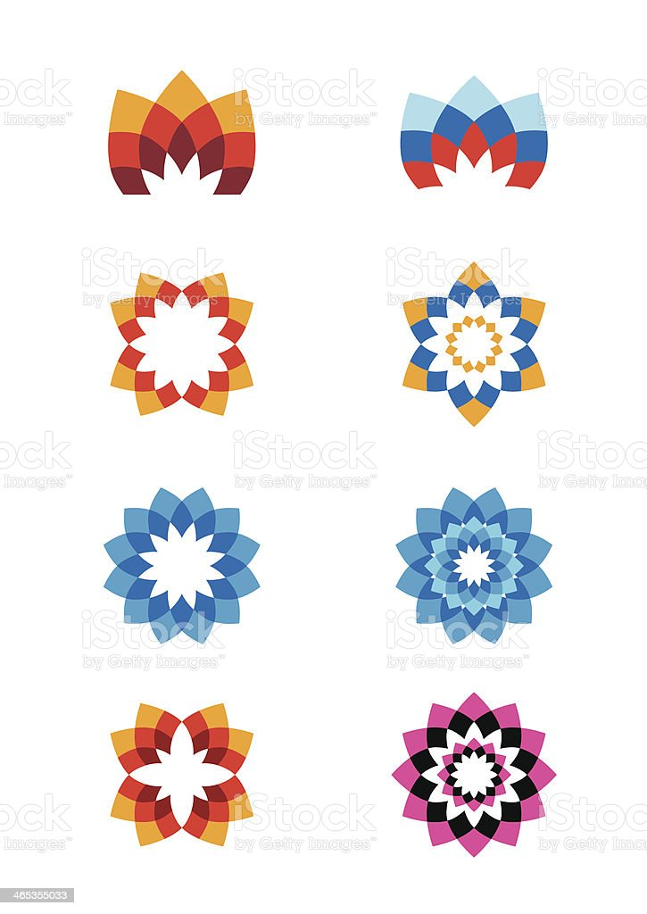 Set of flower abstract logos vector art illustration