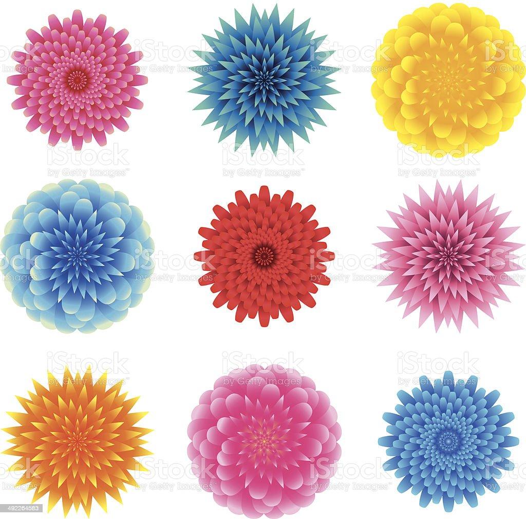 set of flower heads royalty-free stock vector art