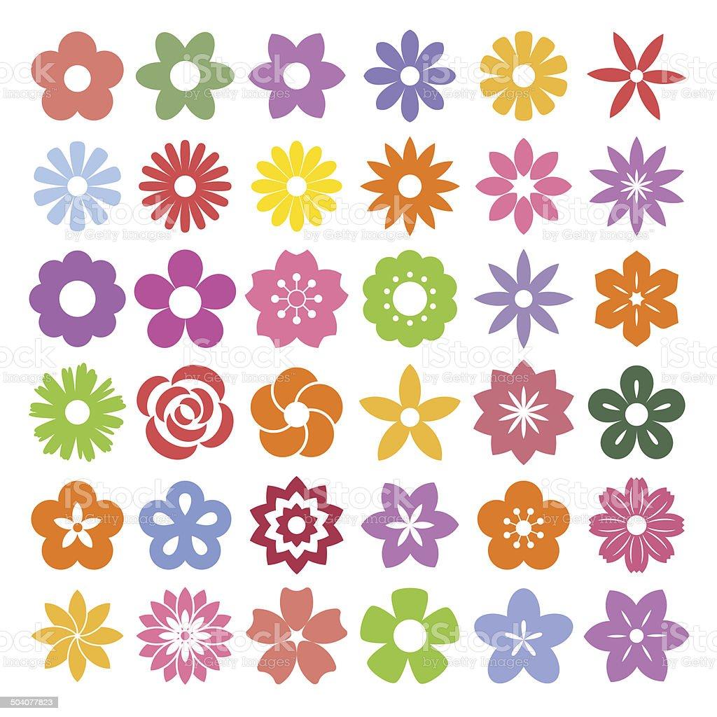 Set of Flower icons.向量藝術插圖