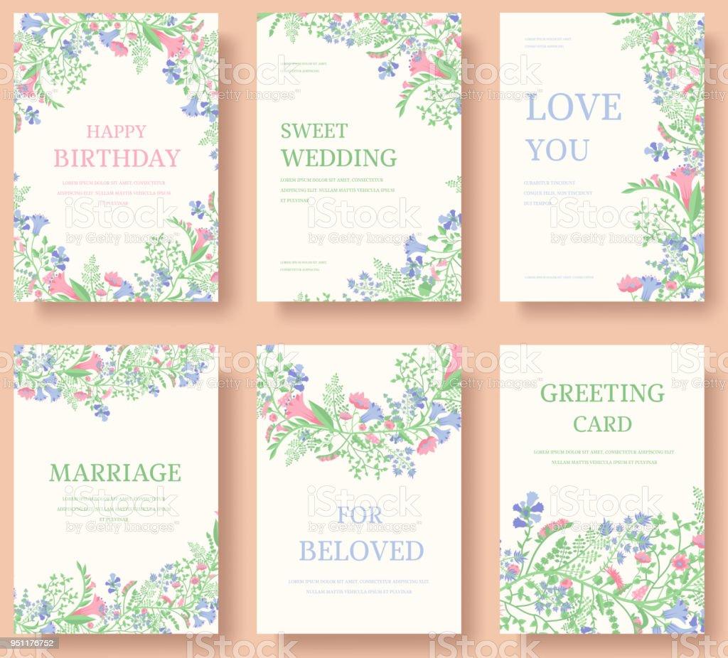 Satz Von Blume Einladungskarten. Laden Sie Hochzeit. Hochzeit Hintergrund.  Hochzeit Abbildung