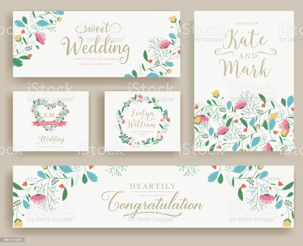 Set Of Flower Wedding Ornament Concept Art Traditional Magazine Book