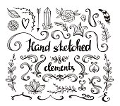 Hand Drawn vintage floral elements. Set of flowers, arrow, feather and decorative elements.