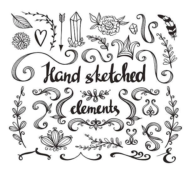 ilustrações, clipart, desenhos animados e ícones de conjunto de flores, arrow, penas e elementos decorativos. - bordas florais