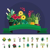 Garden plants.Potted flowers in the garden vector illustration.Potted garden green plants. Greengouse garden plants and flowers.Planting greenery plants.Tropical garden plants.outdoor tree plants.