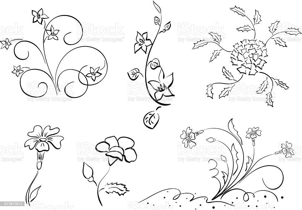 Ensemble de fleurs et d'éléments-Illustration - Illustration vectorielle