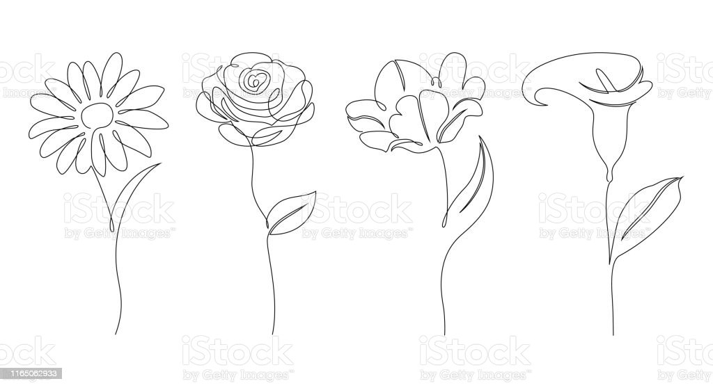 Set bloemen - Royalty-free Abstract vectorkunst
