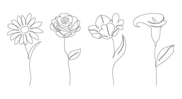 stockillustraties, clipart, cartoons en iconen met set bloemen - floral line