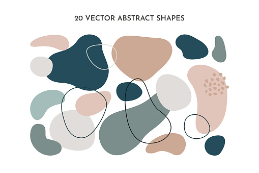 Set of fluid abstract shapes in trendy minimal design and pastel green, pink color. Vector geometric elements for background, cover templates, patterns.