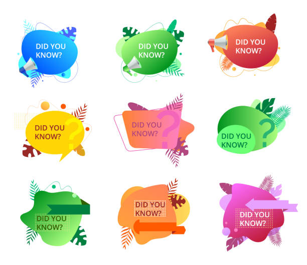 Set of fluid trendy badges with did you know question. Isolated banners on white background Set of fluid trendy badges with did you know question. Isolated banners on white background. Flyers with megaphone and tropical, palm leaves. diad stock illustrations