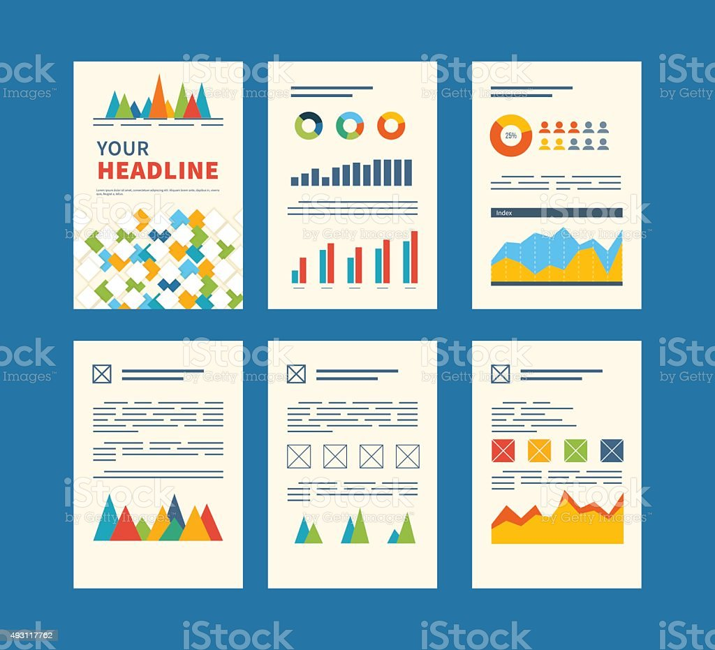 Set Of Flyer Brochure Design Templates Financial Report And Strategy ...