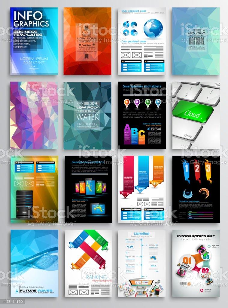 Set of Flyer Design, Infographics. Brochure Designs vector art illustration