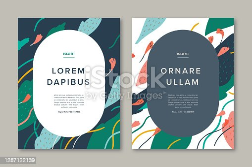 istock Set of flyer design templates with hand-drawn vector botanicals and copy space 1287122139