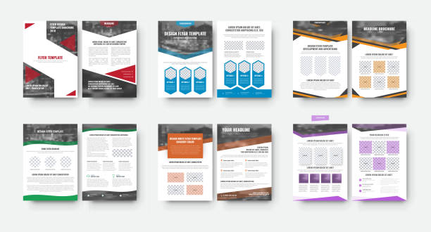 set of flyer templates with a place for photos and various geometric design elements - brochure templates stock illustrations, clip art, cartoons, & icons