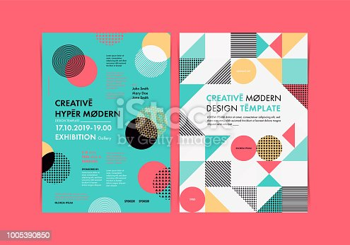Set of Flyer templates with geometric shapes and patterns, 80s retro geometric style. Vector illustrations.