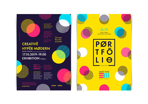Set of Flyer templates with geometric shapes and patterns, 80s geometric style. Vector illustrations.
