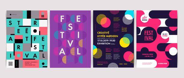 bildbanksillustrationer, clip art samt tecknat material och ikoner med uppsättning av flygblad mallar med geometriska former och mönster, 80s geometriska stil. vektor illustrationer. - traditionell festival