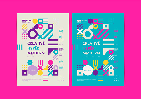 Set of Flyer templates with geometric shapes and patterns, 80s abstract geometric style. Vector illustrations.
