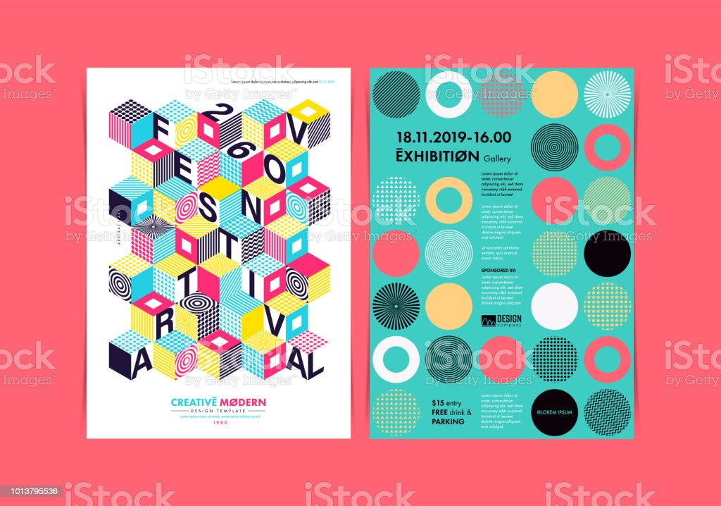 Set Of Flyer Templates With Geometric Shapes And Patterns