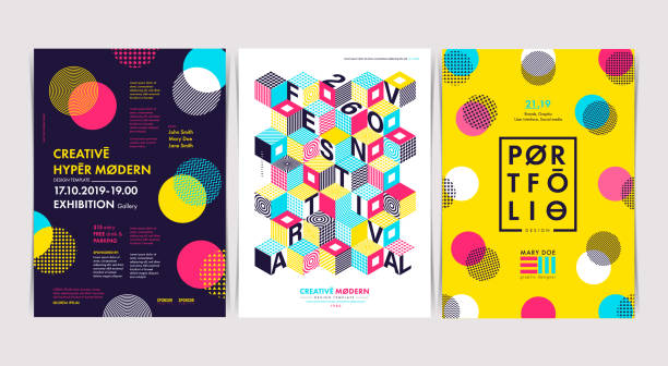 set of flyer templates with geometric shapes and patterns, 80s trendy geometric style. vector illustrations. - tradycyjny festiwal stock illustrations