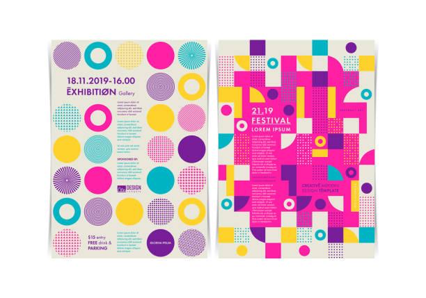 bildbanksillustrationer, clip art samt tecknat material och ikoner med uppsättning av flygblad mallar med geometriska former och mönster, 80s trendiga geometriska stil. vektor illustrationer. - traditionell festival