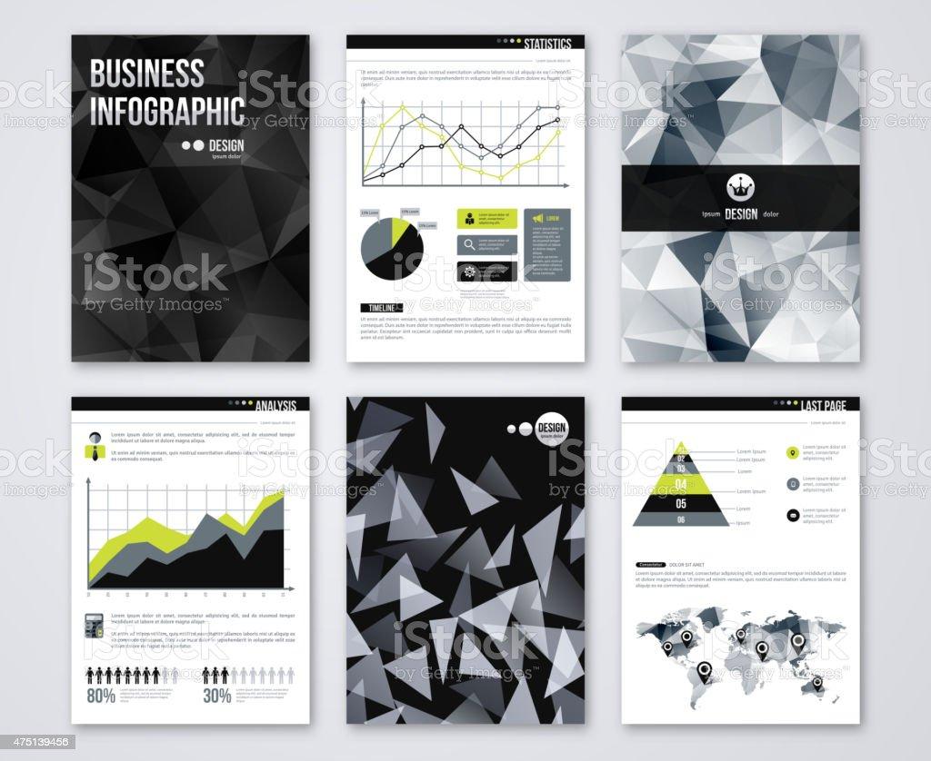 Set of Flyer with geometric Triangular Black Background. vector art illustration