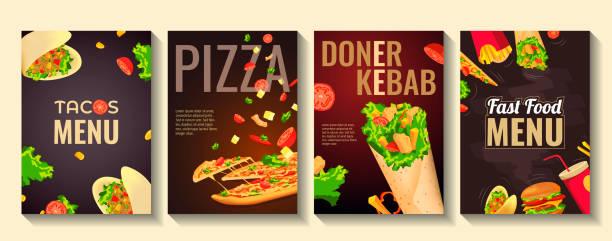 set von flyern für fast food, kochen, café und restaurant menü, lebensmittelbestellung, junk-food. pizza, tacos, kebab und burger. - döner stock-grafiken, -clipart, -cartoons und -symbole