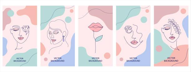 stockillustraties, clipart, cartoons en iconen met set flyers - alleen één vrouw
