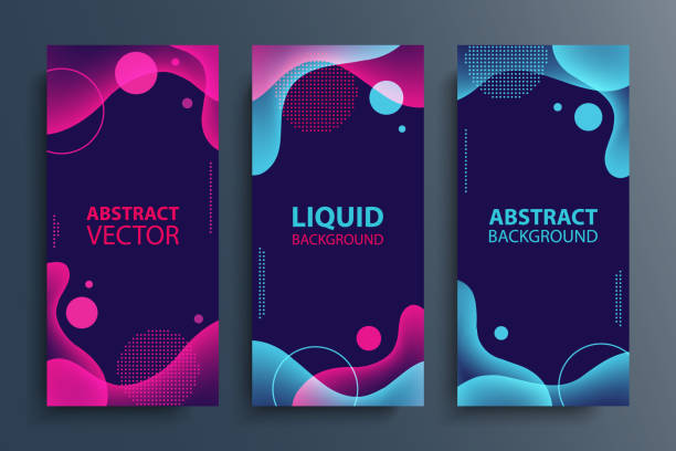 Set of flyers with abstract modern liquid soft forms and shapes, circles and dotted patterns. Fluid color gradient design elements collection. vector art illustration
