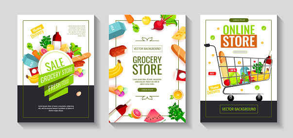 Set of flyers with groceries. Grocery store, Shopping, Supermarket, Fresh food, Home delivery, Ordering, Sale concept.