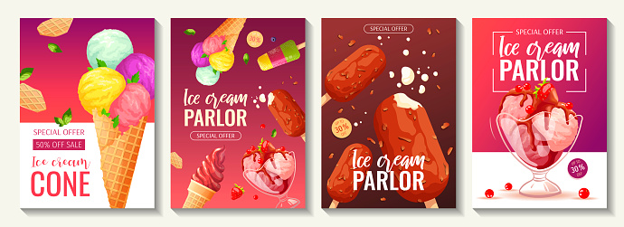 Set of flyers with various ice cream. Ice cream parlor or shop, Sweet products, Dessert concept.