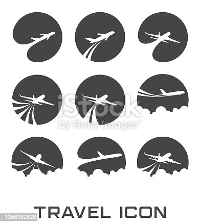 illustration of Set of Flying airplane icon
