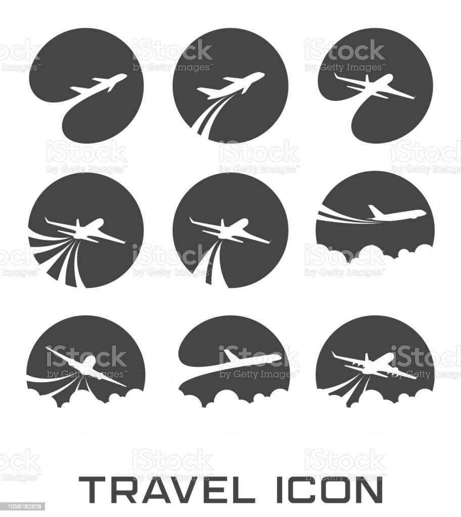 Set of Flying airplane icon vector art illustration