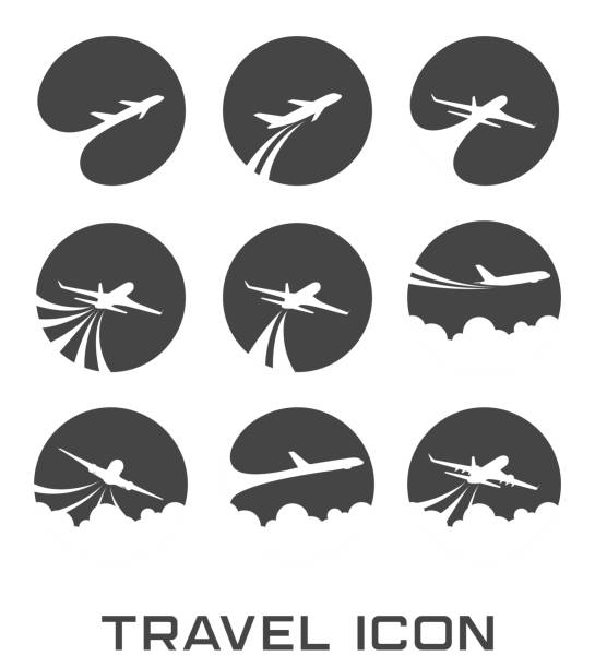 Set of Flying airplane icon illustration of Set of Flying airplane icon plane stock illustrations