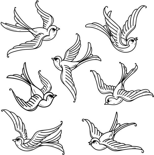 illustrations, cliparts, dessins animés et icônes de ensemble de merles-bleus de vol. oiseaux libres. symbole de l'espoir - tatouages d'oiseaux
