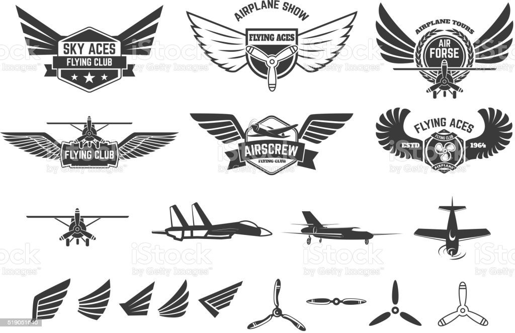 Set of flying club labels and emblems vector art illustration